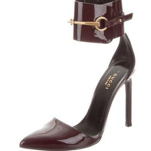 New Gucci Horsebit Ankle-Cuff Pumps